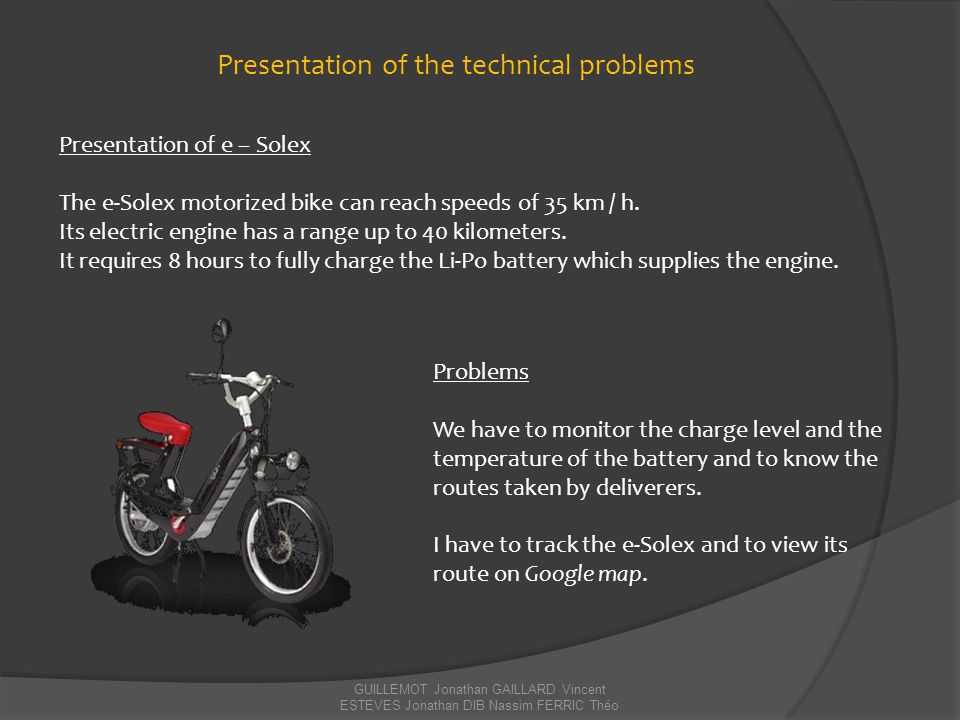 Presentation of the technical problems