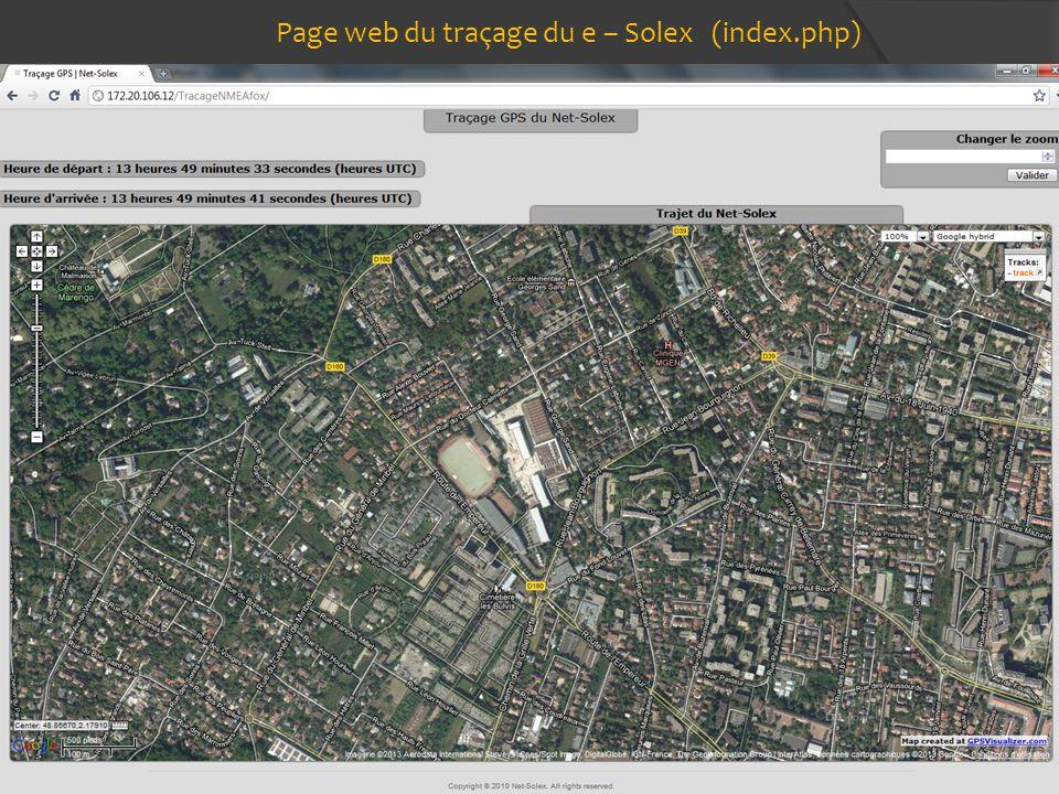 Page web du traçage du e – Solex (index.php)