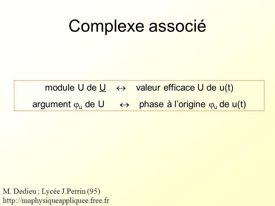 Complexe associé module U de U  valeur efficace U de u(t)