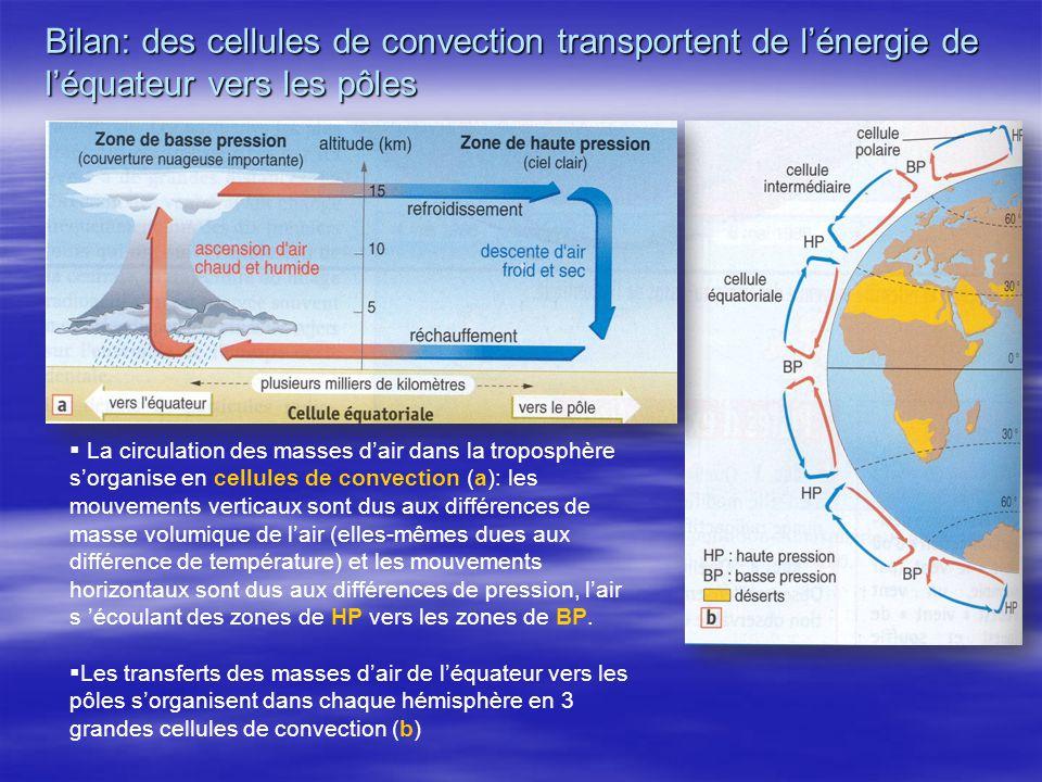 Bilan: des cellules de convection transportent de l'énergie de l'équateur vers les pôles
