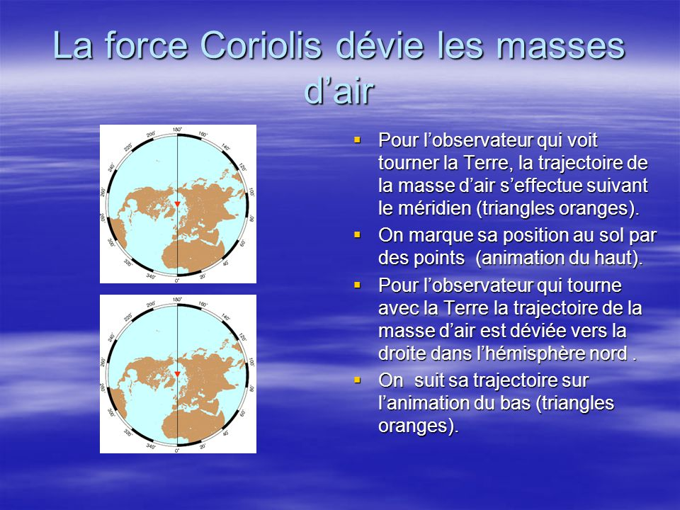 La force Coriolis dévie les masses d'air