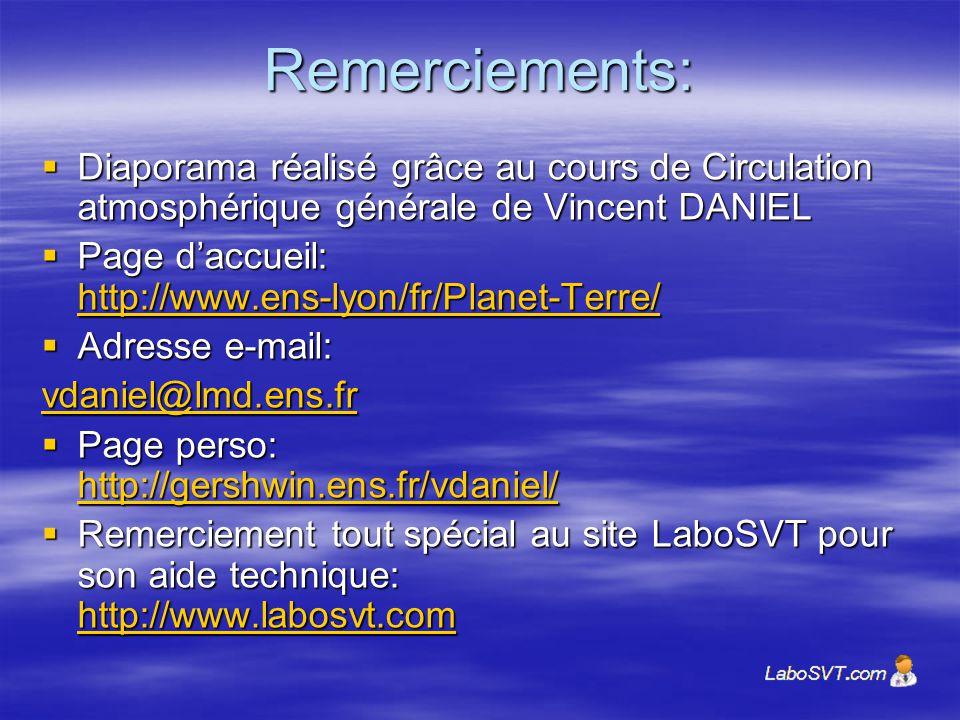 Remerciements: Diaporama réalisé grâce au cours de Circulation atmosphérique générale de Vincent DANIEL.