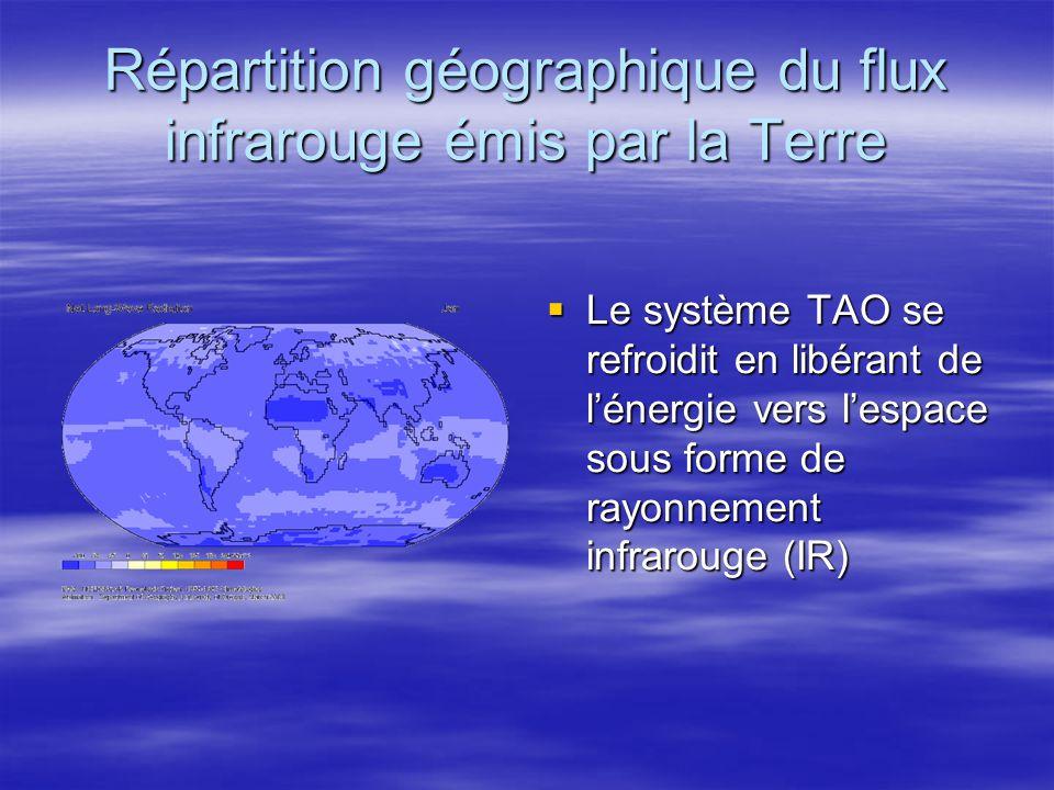 Répartition géographique du flux infrarouge émis par la Terre