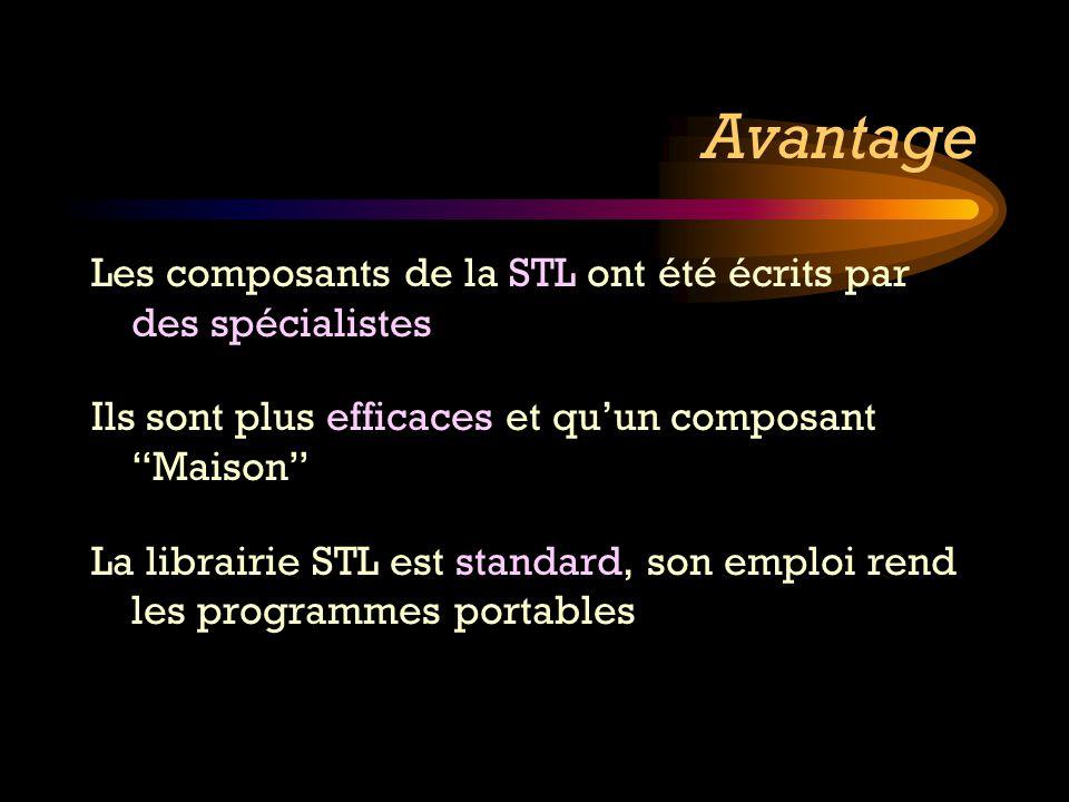 Avantage Les composants de la STL ont été écrits par des spécialistes
