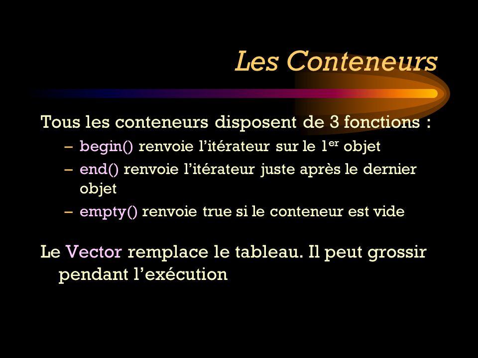 Les Conteneurs Tous les conteneurs disposent de 3 fonctions :