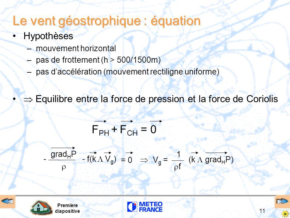 Le vent géostrophique : équation