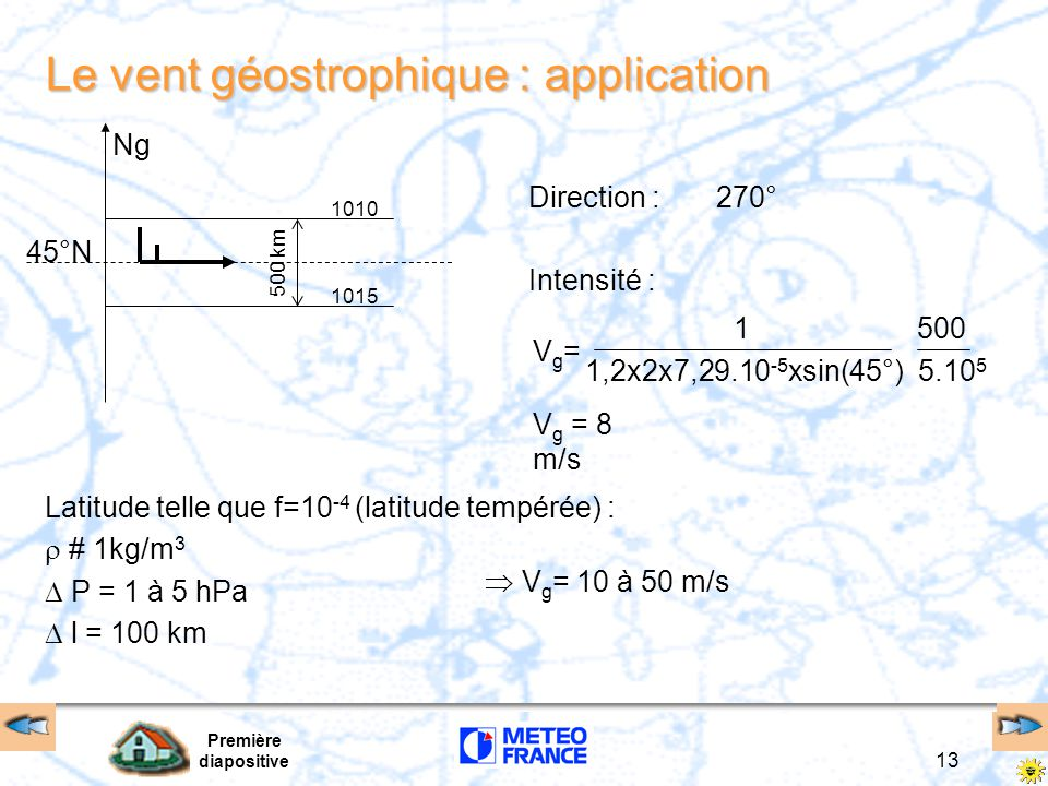 Le vent géostrophique : application