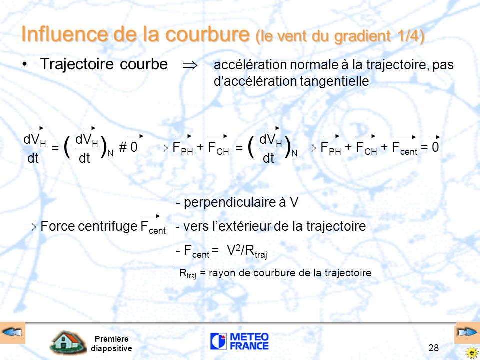 Influence de la courbure (le vent du gradient 1/4)