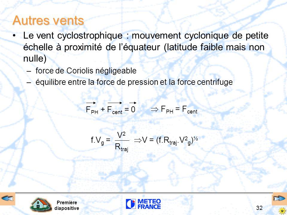 Autres vents Le vent cyclostrophique : mouvement cyclonique de petite échelle à proximité de l'équateur (latitude faible mais non nulle)