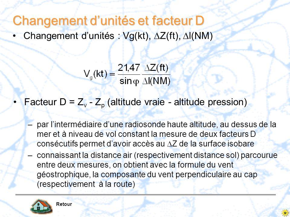 Changement d'unités et facteur D