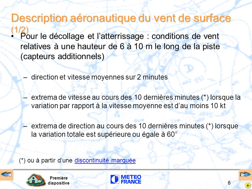 Description aéronautique du vent de surface (1/2)