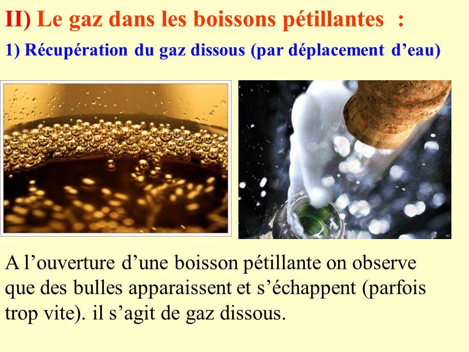 II) Le gaz dans les boissons pétillantes :