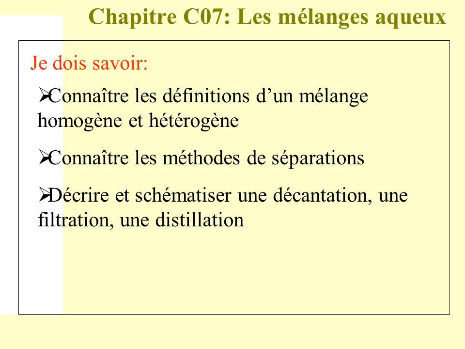 Chapitre C07: Les mélanges aqueux