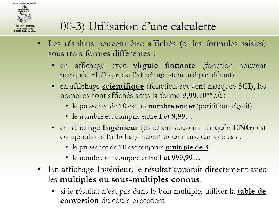 00-3) Utilisation d'une calculette