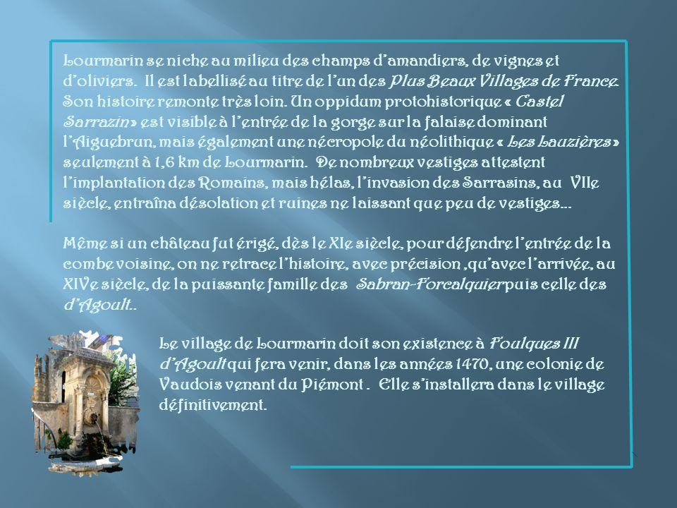 Lourmarin se niche au milieu des champs d'amandiers, de vignes et d'oliviers. Il est labellisé au titre de l'un des Plus Beaux Villages de France.