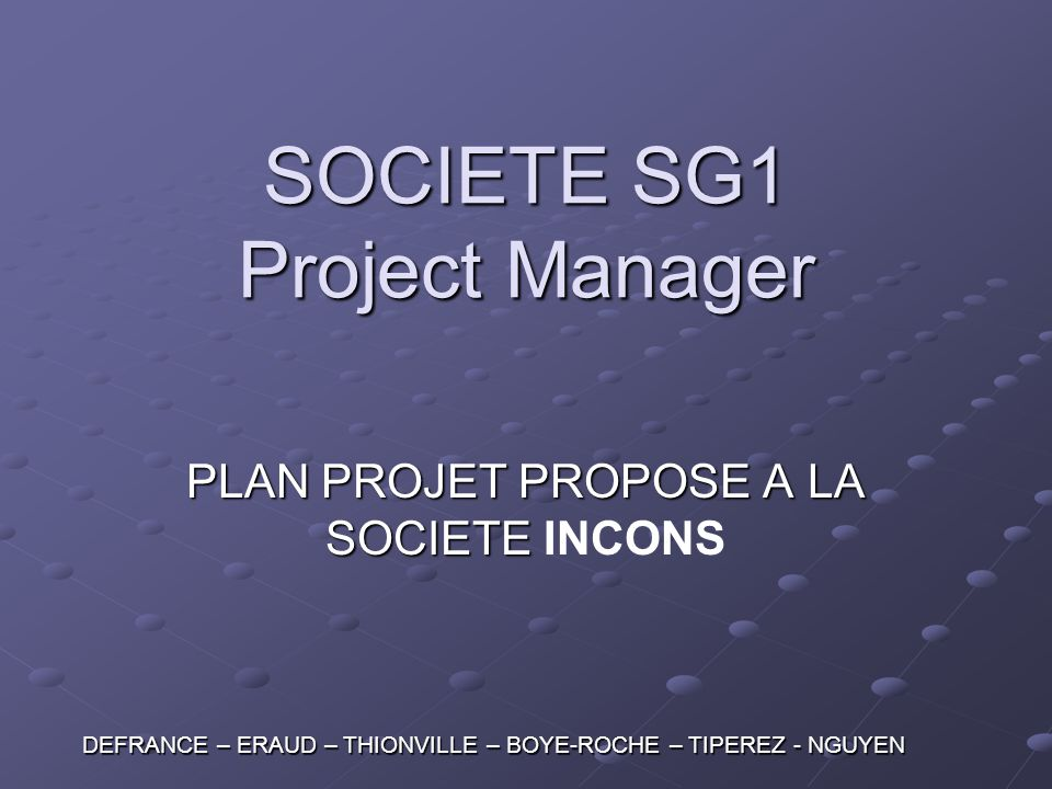 SOCIETE SG1 Project Manager
