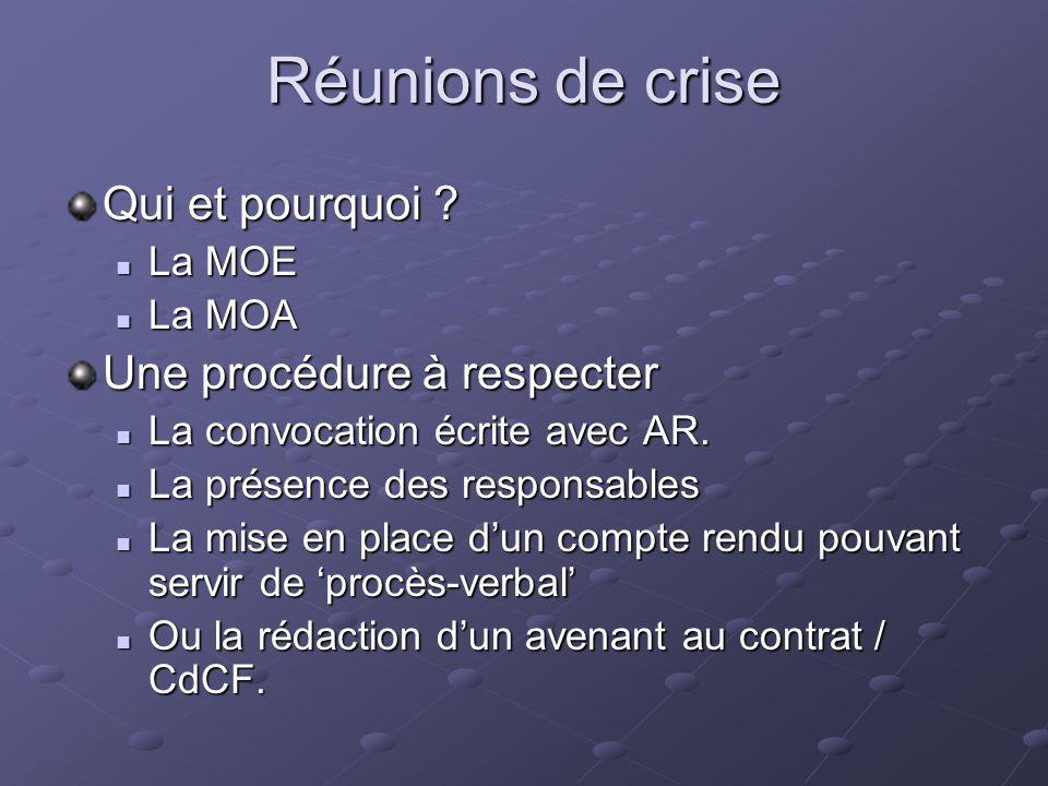 Réunions de crise Qui et pourquoi Une procédure à respecter La MOE