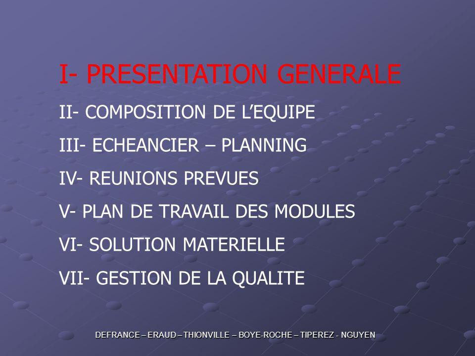 I- PRESENTATION GENERALE