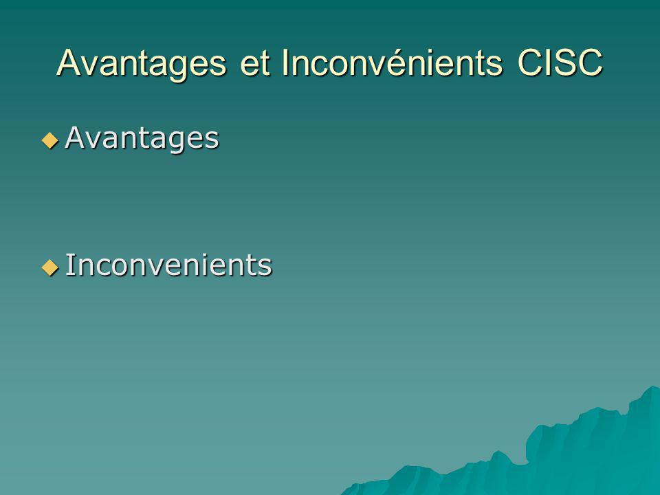 Avantages et Inconvénients CISC