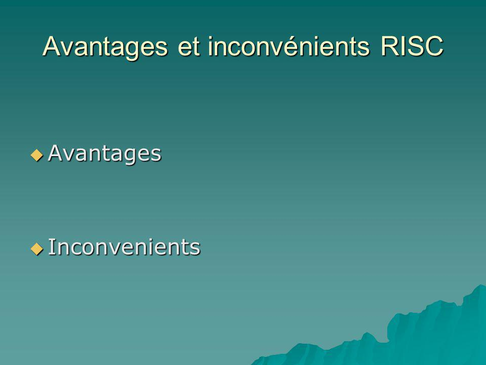 Avantages et inconvénients RISC