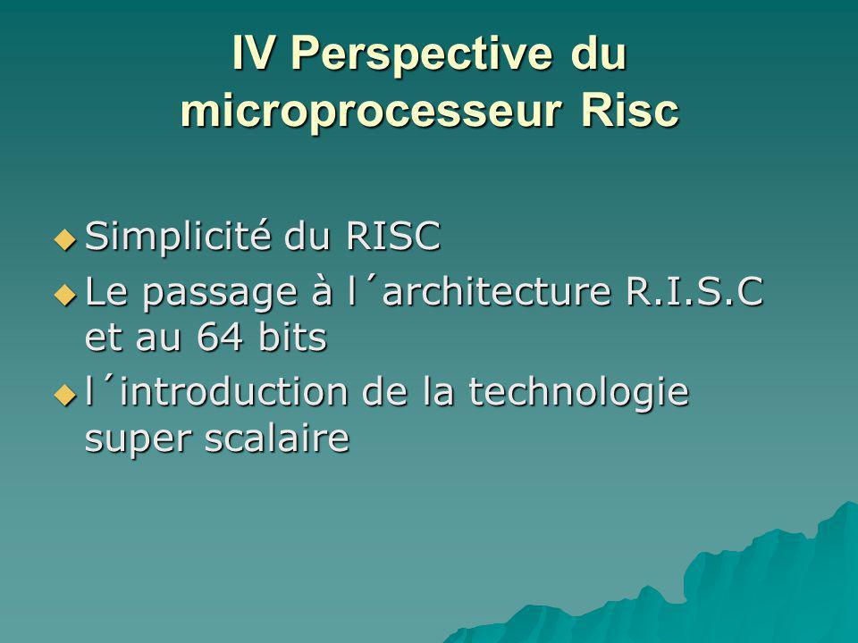 IV Perspective du microprocesseur Risc