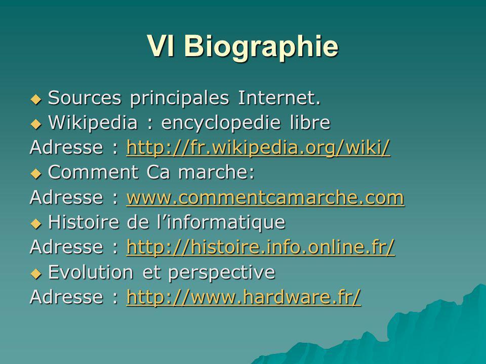 VI Biographie Sources principales Internet.
