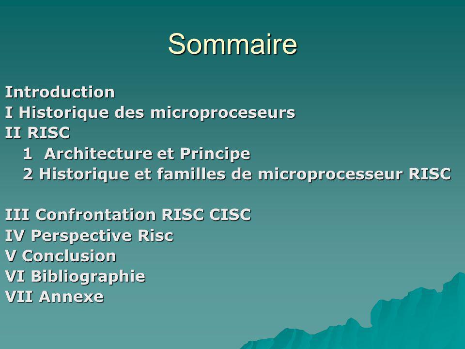 Sommaire Introduction I Historique des microproceseurs II RISC