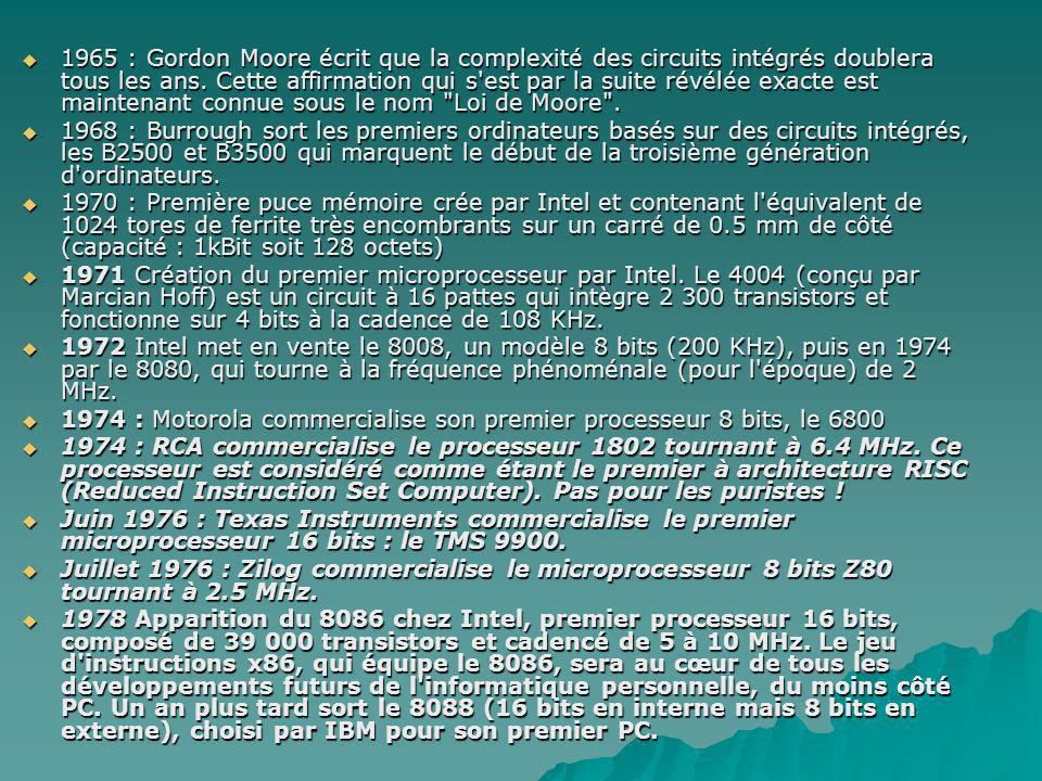 1965 : Gordon Moore écrit que la complexité des circuits intégrés doublera tous les ans. Cette affirmation qui s est par la suite révélée exacte est maintenant connue sous le nom Loi de Moore .