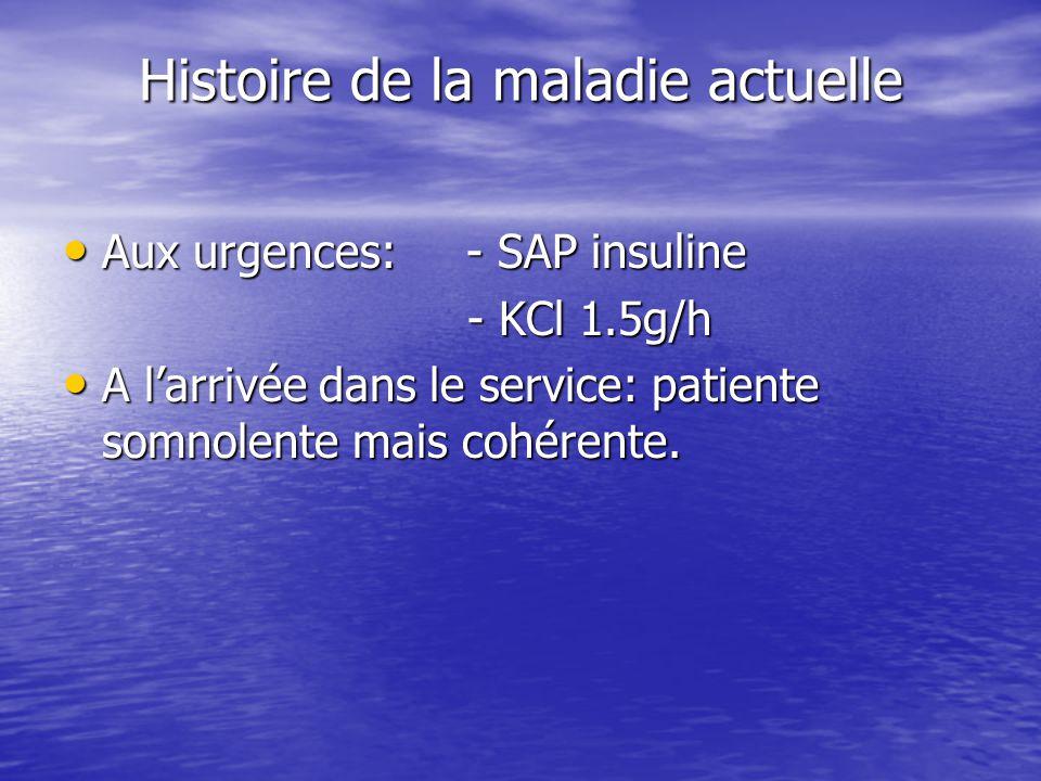 Histoire de la maladie actuelle