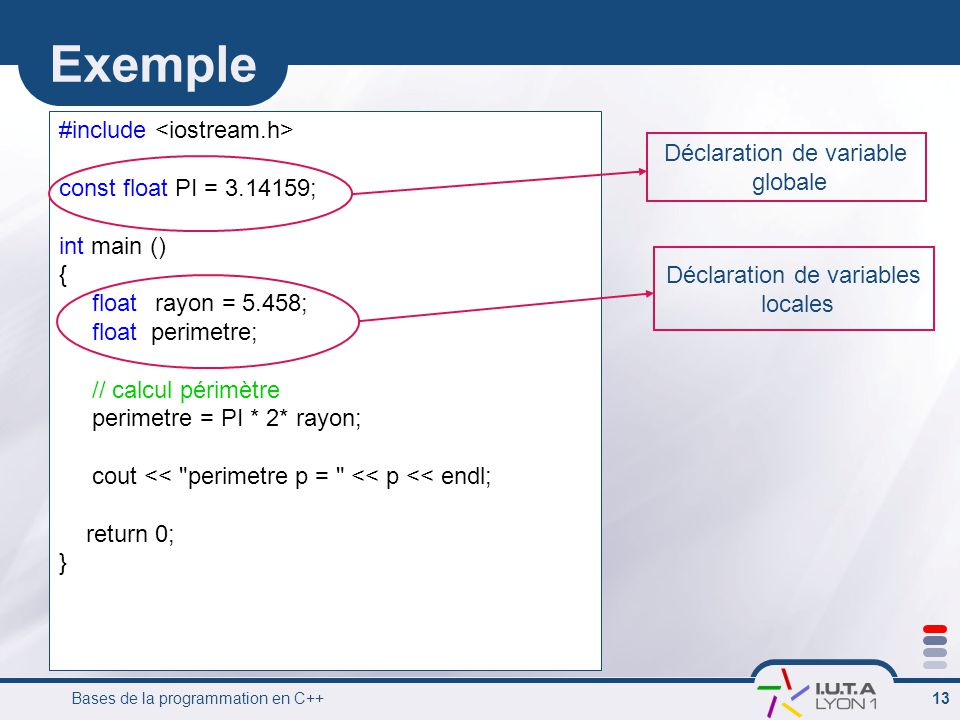 Exemple #include <iostream.h> Déclaration de variable