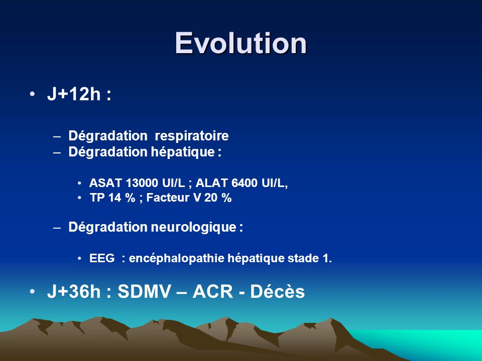 Evolution J+12h : J+36h : SDMV – ACR - Décès Dégradation respiratoire