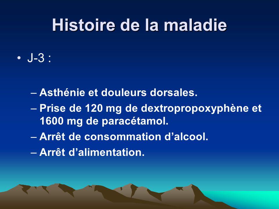 Histoire de la maladie J-3 : Asthénie et douleurs dorsales.