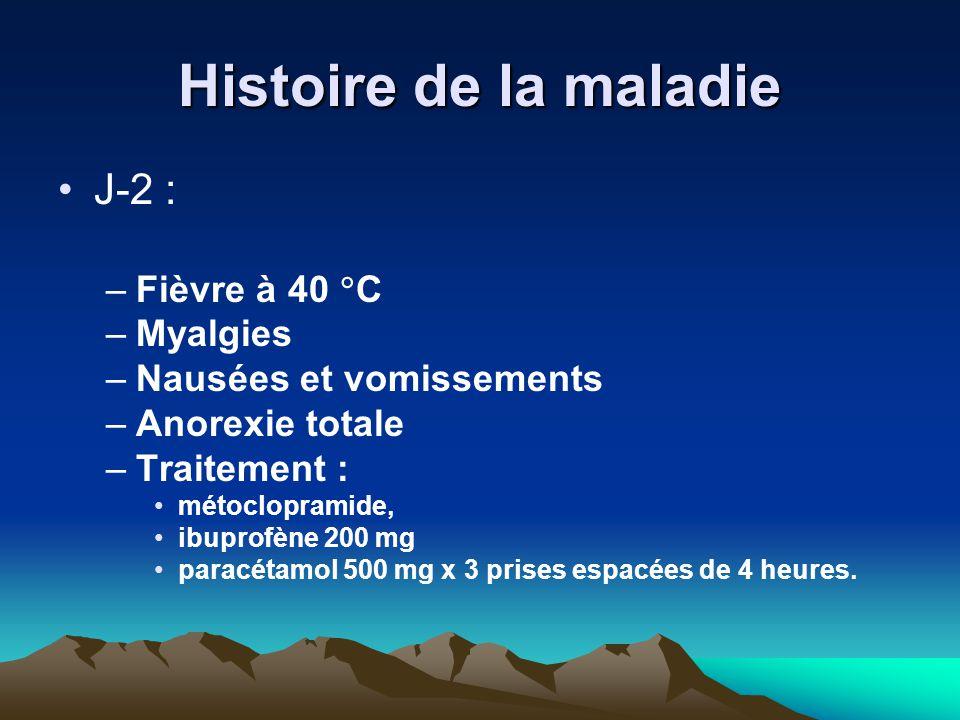 Histoire de la maladie J-2 : Fièvre à 40 C Myalgies