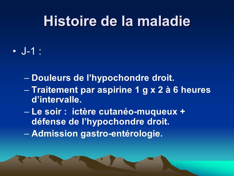 Histoire de la maladie J-1 : Douleurs de l'hypochondre droit.
