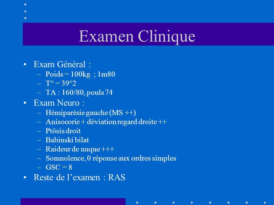 Examen Clinique Exam Général : Exam Neuro : Reste de l'examen : RAS