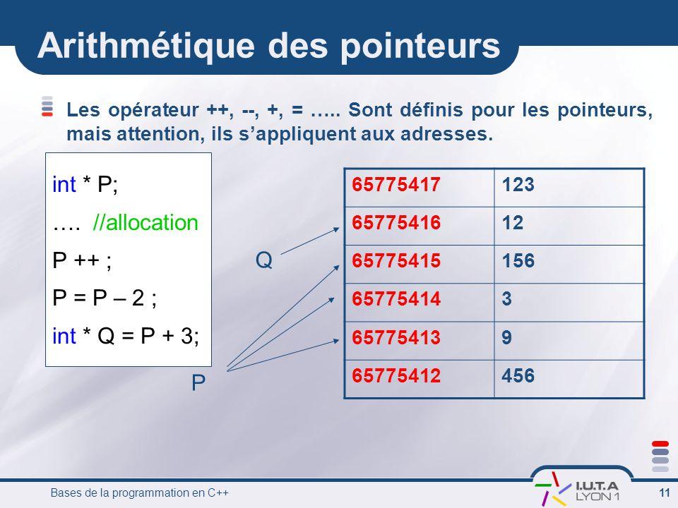 Arithmétique des pointeurs