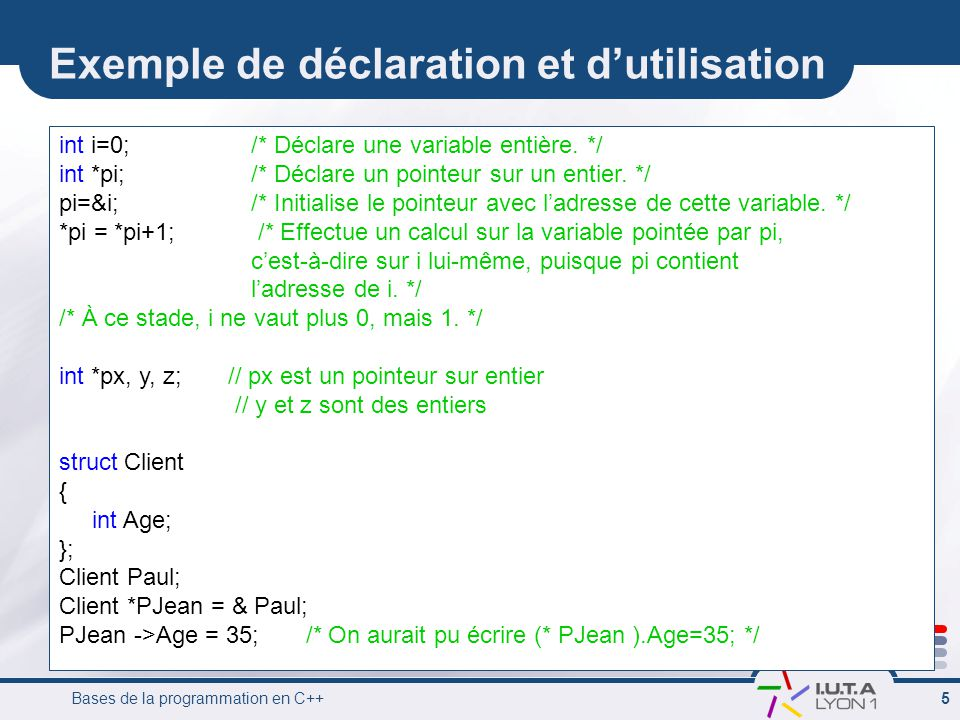Exemple de déclaration et d'utilisation