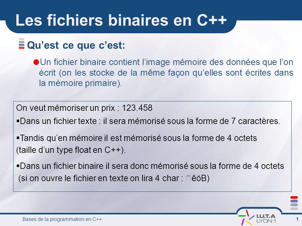 Les fichiers binaires en C++
