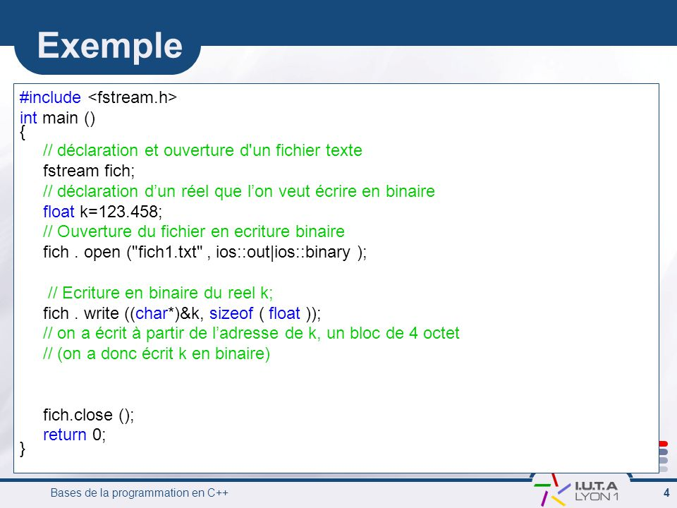 Exemple #include <fstream.h> int main () {