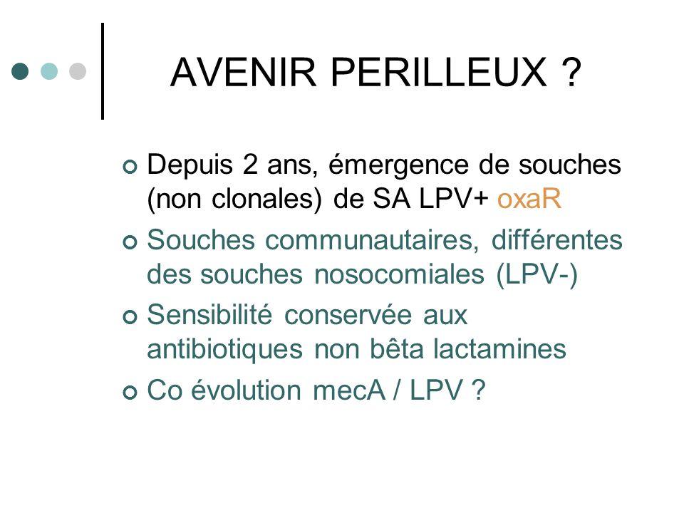 AVENIR PERILLEUX Depuis 2 ans, émergence de souches (non clonales) de SA LPV+ oxaR.
