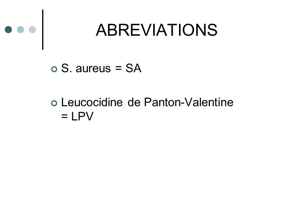 ABREVIATIONS S. aureus = SA Leucocidine de Panton-Valentine = LPV