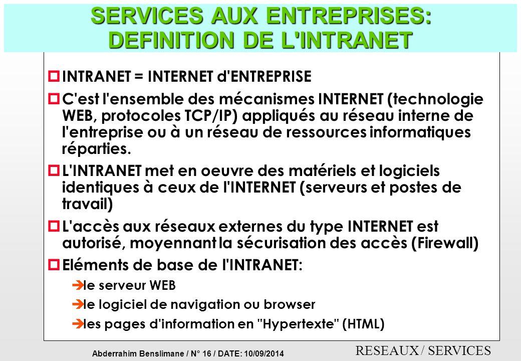 SERVICES AUX ENTREPRISES: DEFINITION DE L INTRANET