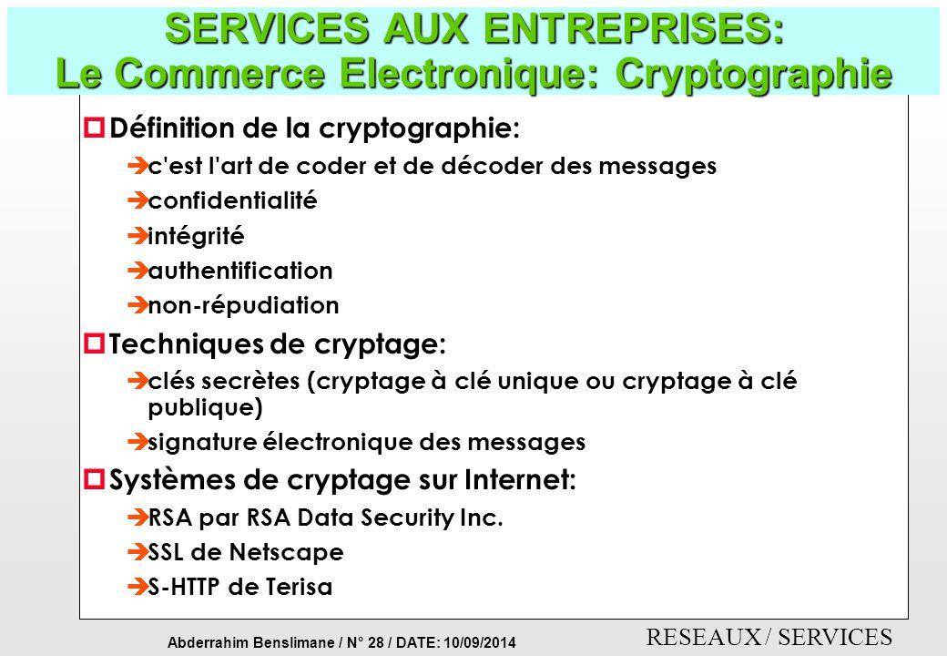 SERVICES AUX ENTREPRISES: Le Commerce Electronique: Cryptographie