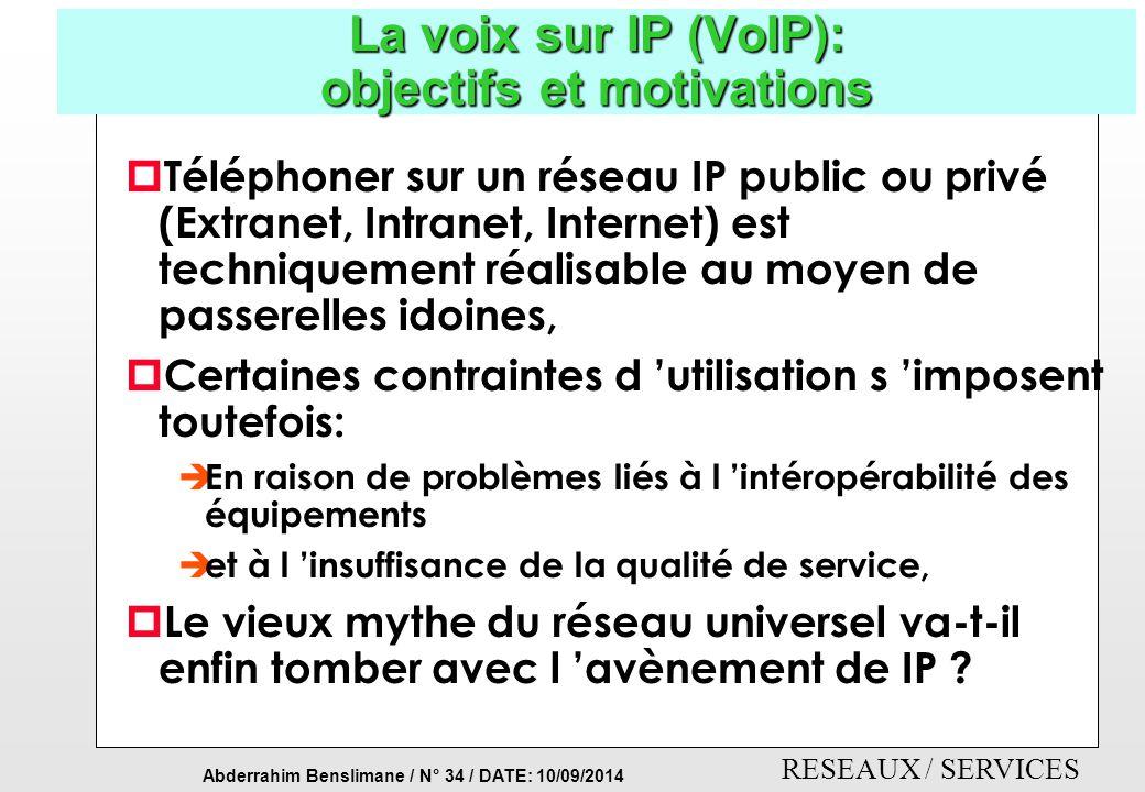 La voix sur IP (VoIP): objectifs et motivations