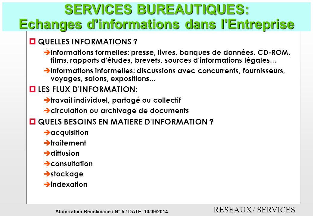 SERVICES BUREAUTIQUES: Echanges d informations dans l Entreprise