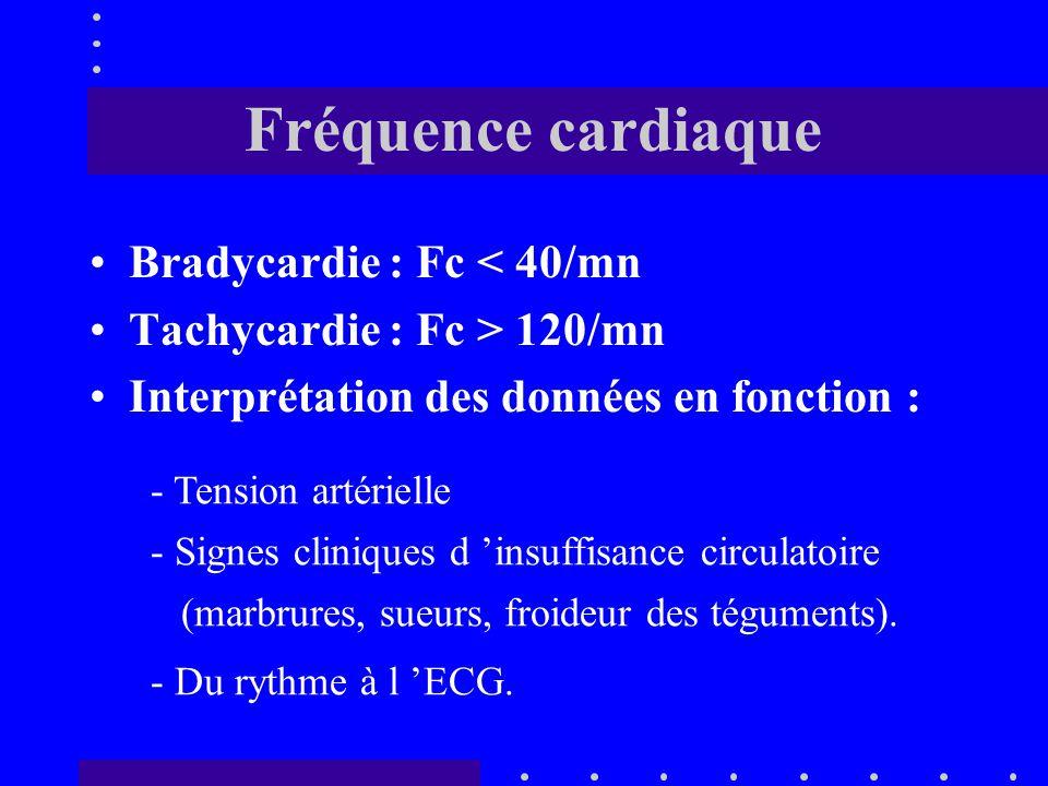 Fréquence cardiaque Bradycardie : Fc < 40/mn