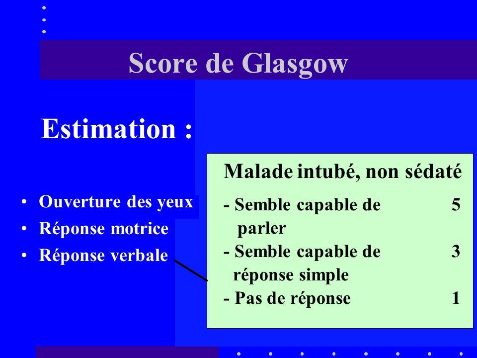Score de Glasgow Estimation : Malade intubé, non sédaté