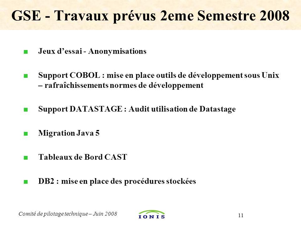 GSE - Travaux prévus 2eme Semestre 2008