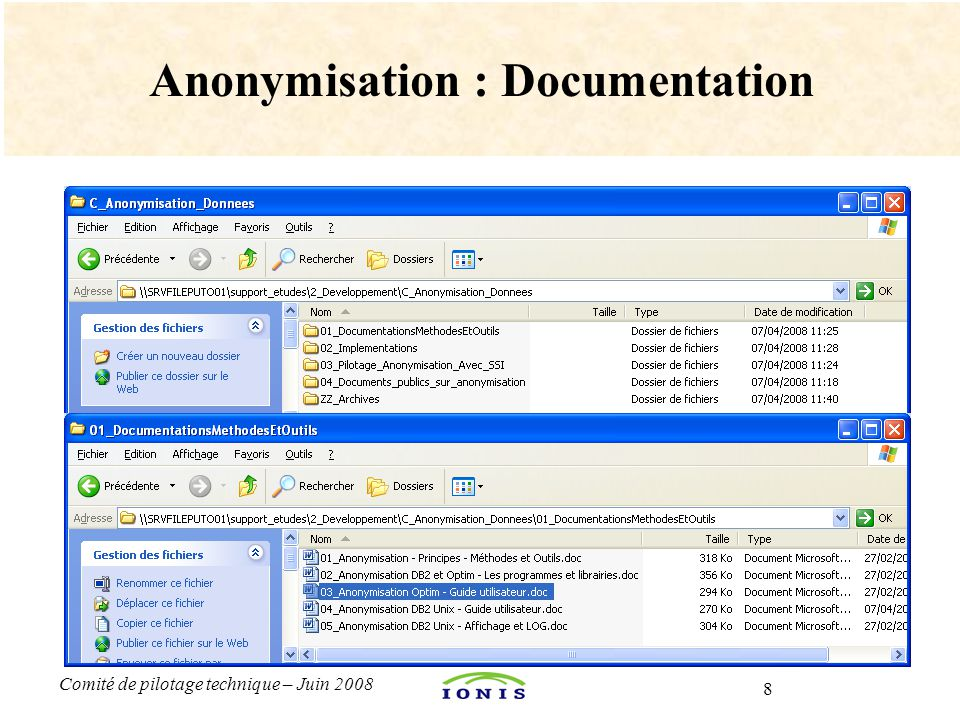 Anonymisation : Documentation