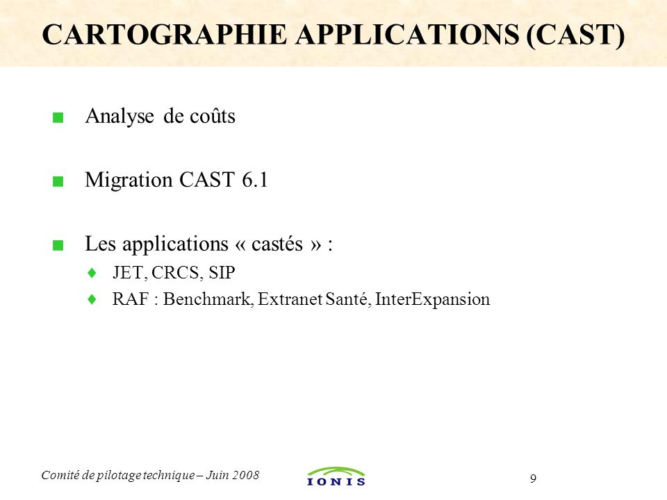 CARTOGRAPHIE APPLICATIONS (CAST)